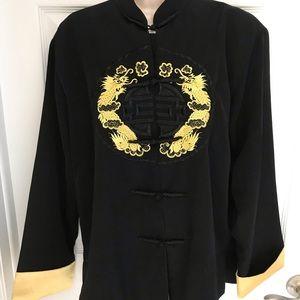 Vtg Chinese Black Silk Blend Robe/Kimono S Med